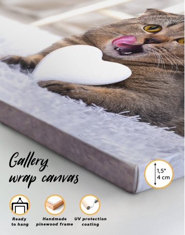 Brown Scottish fold with Heart Canvas Wall Art - image 2
