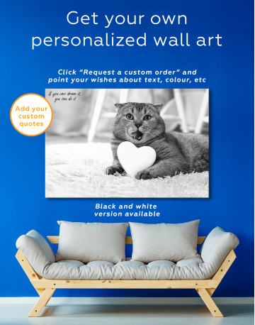 Brown Scottish fold with Heart Canvas Wall Art - image 3