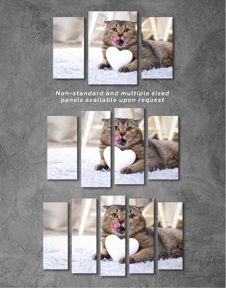 Brown Scottish fold with Heart Canvas Wall Art - Image 5