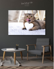 Brown Scottish fold with Heart Canvas Wall Art - Image 6