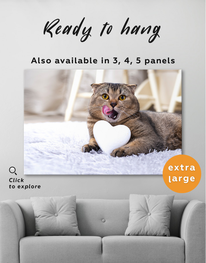Brown Scottish fold with Heart Canvas Wall Art - Image 7