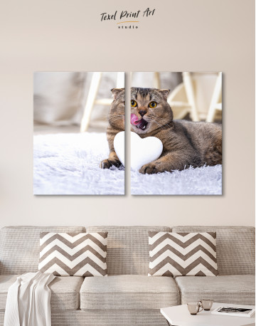 Brown Scottish fold with Heart Canvas Wall Art - image 10