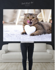 Brown Scottish fold with Heart Canvas Wall Art - Image 1