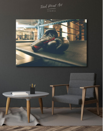 Boxing Gloves in the Ring Canvas Wall Art - image 4
