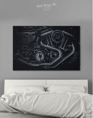 Black Motorcycle Engine Canvas Wall Art
