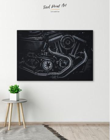 Black Motorcycle Engine Canvas Wall Art - image 6