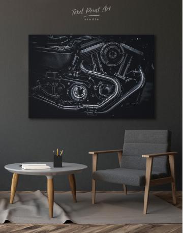 Black Motorcycle Engine Canvas Wall Art - image 4