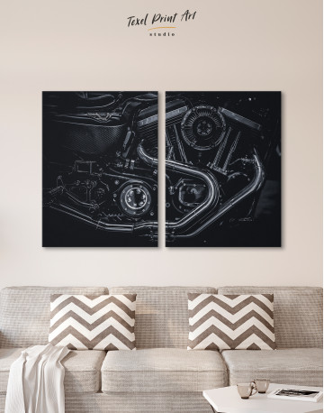 Black Motorcycle Engine Canvas Wall Art - image 10