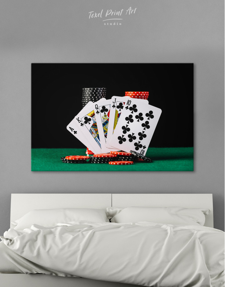 Poker Cards and Chips Canvas Wall Art