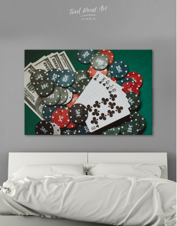 Poker Chips with Cards Canvas Wall Art