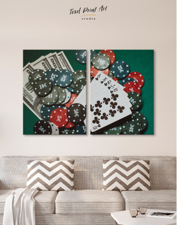 Poker Chips with Cards Canvas Wall Art - image 2