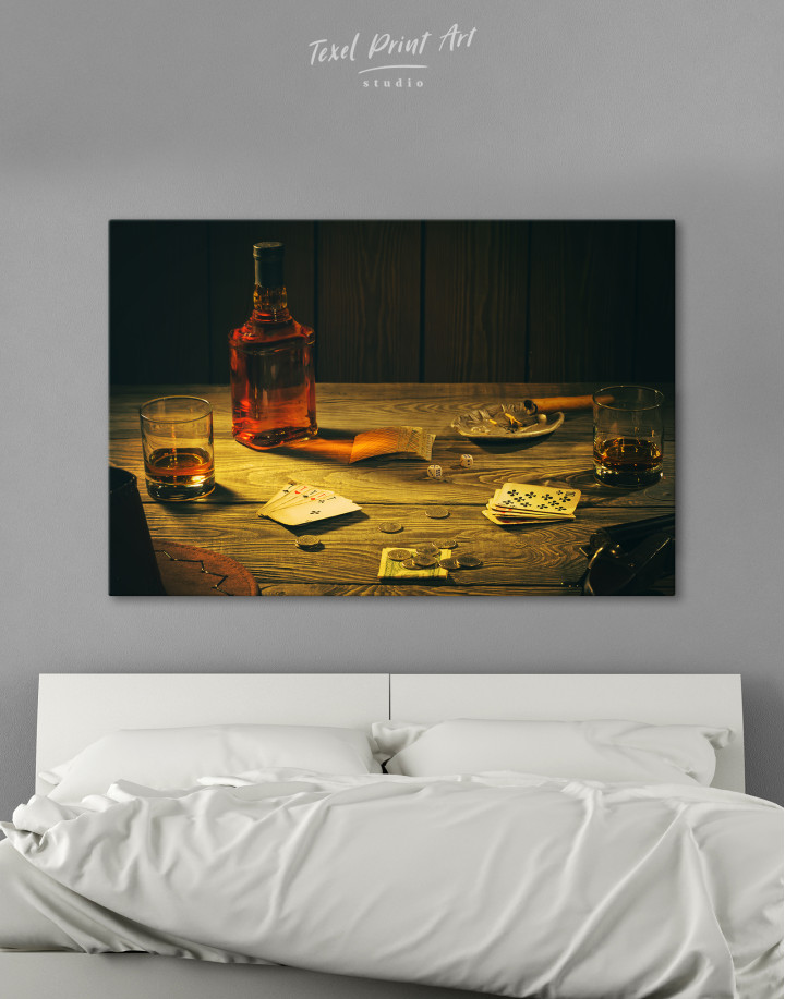 Whiskey and Poker Canvas Wall Art