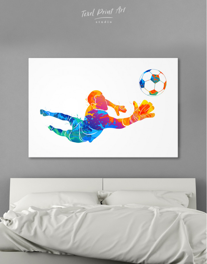 Watercolor Football Goalkeeper Canvas Wall Art