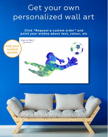 Watercolor Football Goalkeeper Canvas Wall Art - image 4