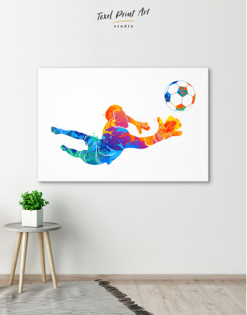 Watercolor Football Goalkeeper Canvas Wall Art - image 3