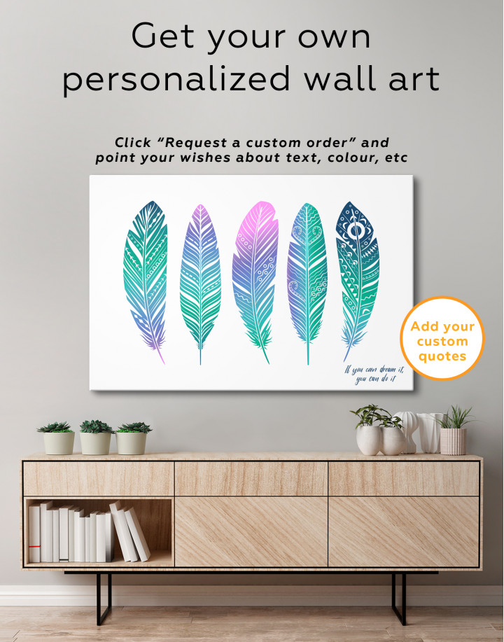 Watercolor Feather Set Canvas Wall Art - image 1