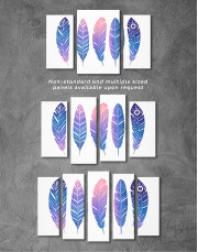 Watercolor Feather Set Canvas Wall Art - image 3