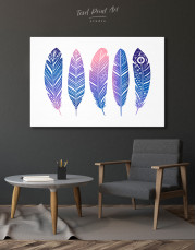 Watercolor Feather Set Canvas Wall Art - image 4