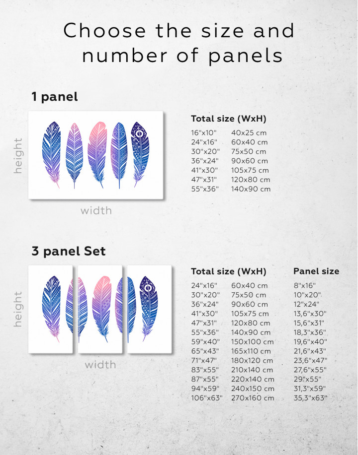 Watercolor Feather Set Canvas Wall Art - image 6