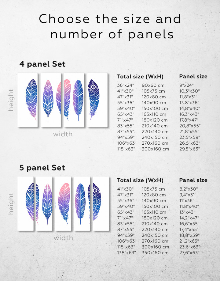 Watercolor Feather Set Canvas Wall Art - image 7