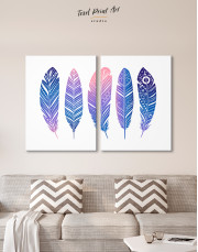 Watercolor Feather Set Canvas Wall Art - image 10