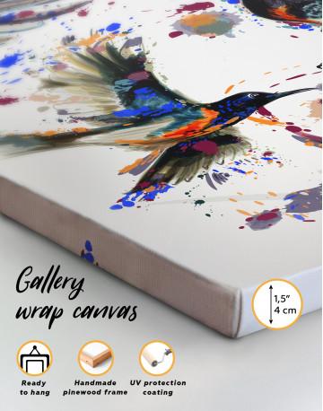 Watercolor Splashes Hummingbird Canvas Wall Art - image 1