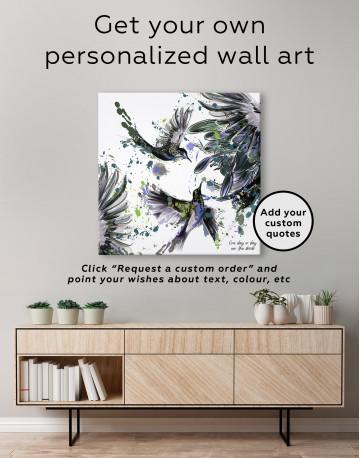 Watercolor Splashes Hummingbird Canvas Wall Art - image 5