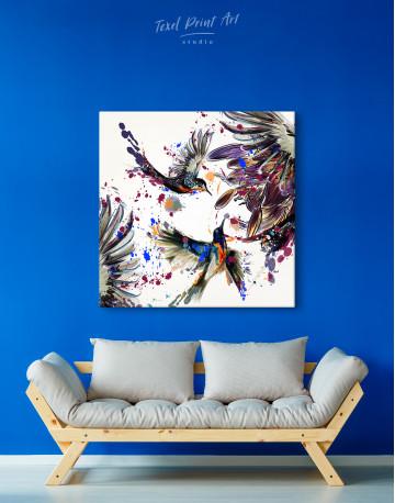 Watercolor Splashes Hummingbird Canvas Wall Art - image 4