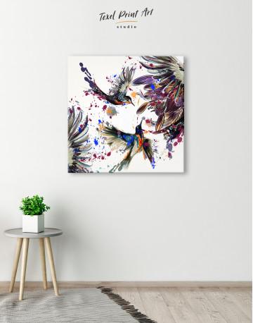 Watercolor Splashes Hummingbird Canvas Wall Art