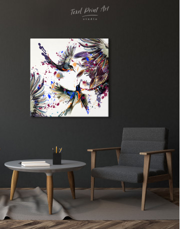 Watercolor Splashes Hummingbird Canvas Wall Art - image 2