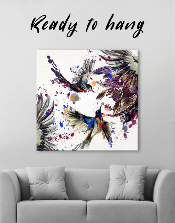 Watercolor Splashes Hummingbird Canvas Wall Art - image 3