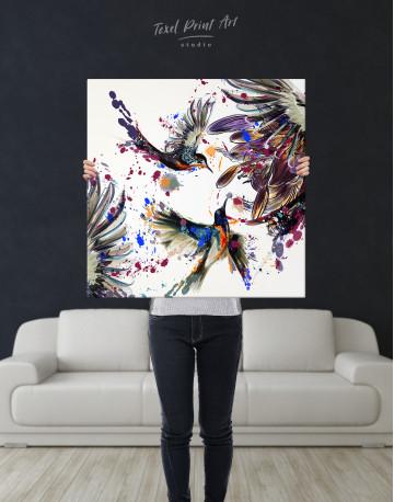 Watercolor Splashes Hummingbird Canvas Wall Art - image 6