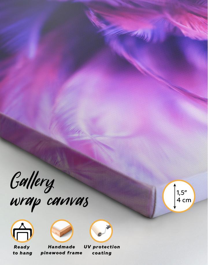 Purple Bird Feather Canvas Wall Art - Image 3