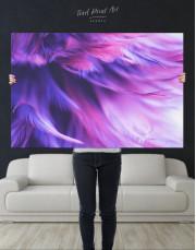 Purple Bird Feather Canvas Wall Art - Image 1