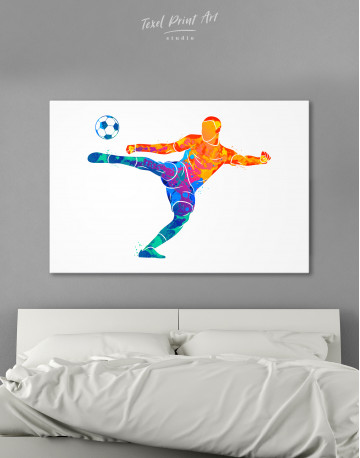 Watercolor Soccer Player Canvas Wall Art