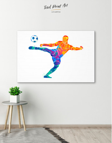 Watercolor Soccer Player Canvas Wall Art - image 7