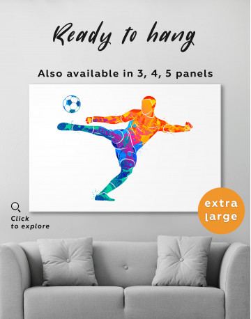 Watercolor Soccer Player Canvas Wall Art - image 4