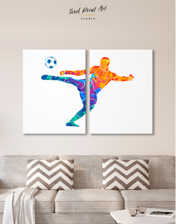 Watercolor Soccer Player Canvas Wall Art - image 10