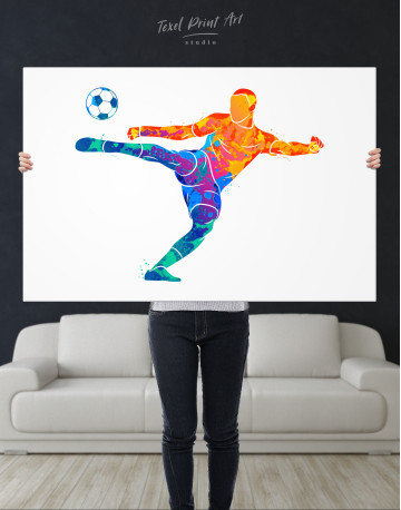 Watercolor Soccer Player Canvas Wall Art - image 9