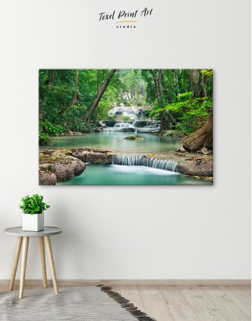 Deep Forest Waterfall Canvas Wall Art - image 4