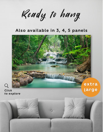 Deep Forest Waterfall Canvas Wall Art - image 8
