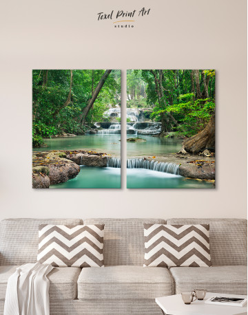 Deep Forest Waterfall Canvas Wall Art - image 2