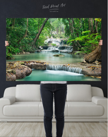 Deep Forest Waterfall Canvas Wall Art - image 1