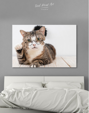 Cat in Glasses Canvas Wall Art