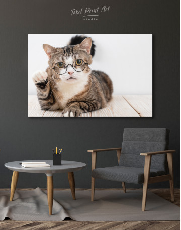 Cat in Glasses Canvas Wall Art - image 4