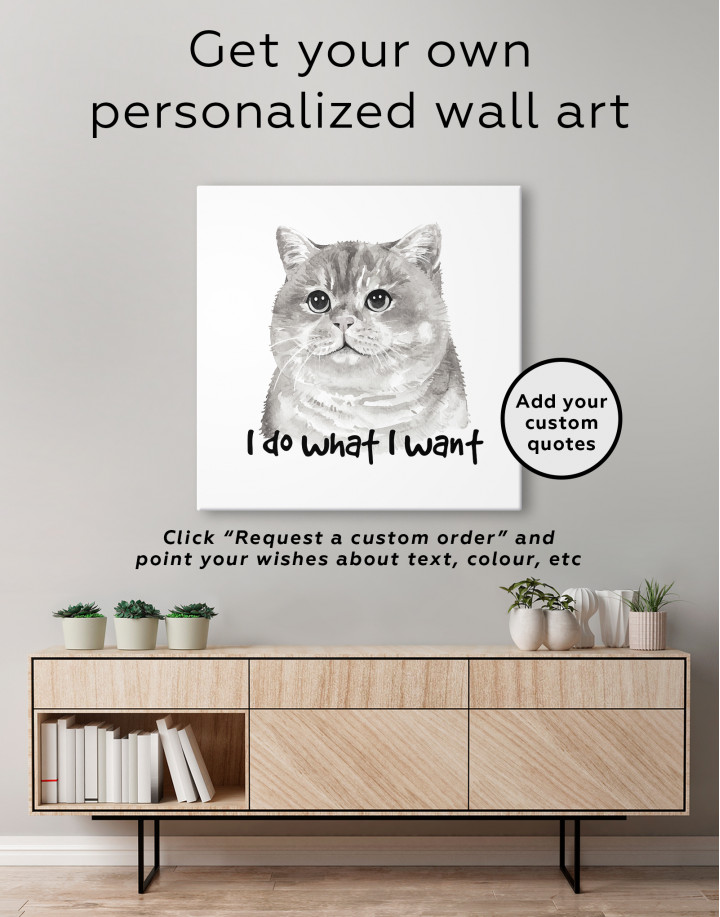 I Do What I Want Cat Canvas Wall Art - Image 3