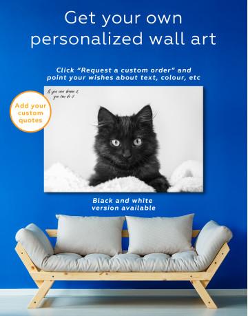 Cute Black Kitten Canvas Wall Art - image 6