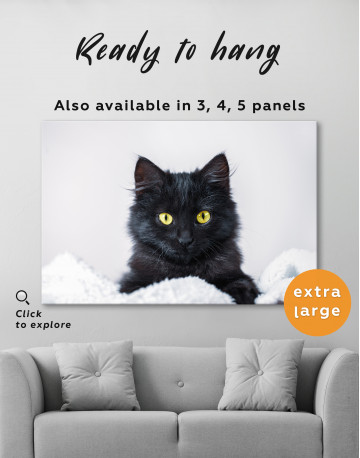 Cute Black Kitten Canvas Wall Art