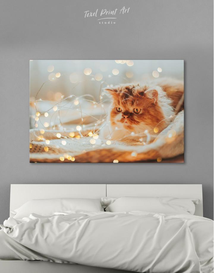 Christmas Light Cat Canvas Wall Art