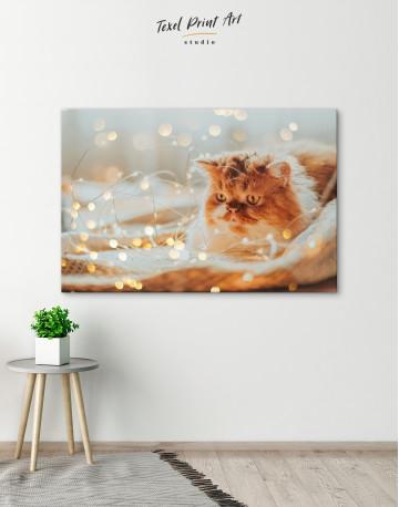 Christmas Light Cat Canvas Wall Art - image 3
